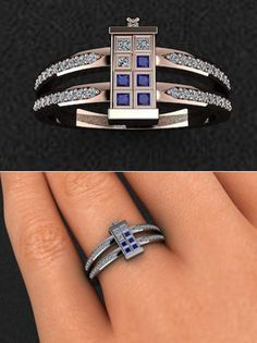 BLUE Doctor Who His 8mm Tungsten and Hers 4mm 925 Sterling Silver