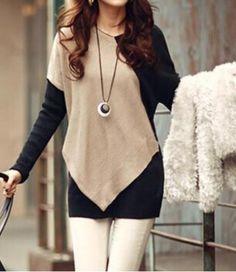 Elegant V-Neck Color Block Long Sleeve Loose-Fitting T-Shirt