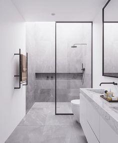 Minimal Interior Design Inspiration, modern bathroom design with modern shower, neutral gray bathroom decor Bathroom Design Luxury, Bathroom Layout, Modern Bathroom Design, Bathroom Ideas, Bathroom Vanities, Minimalist Bathroom Design, Ensuite Bathrooms, Luxury Bathrooms, Bathroom Inspo
