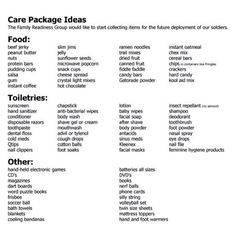 Things to put in care packages for military personnel - great project for our wo. Things to put in care packages for military personnel - . Soldier Care Packages, Deployment Care Packages, Soldier Care Package Ideas, Care Packages For Troops, Homeless Care Package, Homeless Bags, Chemo Care Package, Cancer Care Package, Christmas Care Package