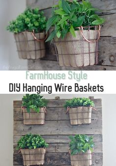 Looking to add some Farmhouse style to your home? Learn how to create these Farmhouse Style DIY Hanging Wire Baskets. via @frugalfarmgrl