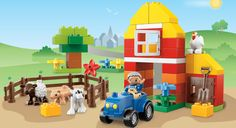 6141 My First Farm #LegoDuploParty   I may have to go on a shopping spree to set up a table of fun cordinating lego duplo Farm sets for the party!