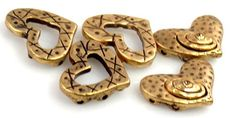 5 Heart Antique Gold 2 Hole Beads-n3 by MobileBoutiqueshop on Etsy