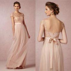 Popular Cap Sleeve Lace Top Long Elegant Bridesmaid Dresses, Cheap Tulle Prom…