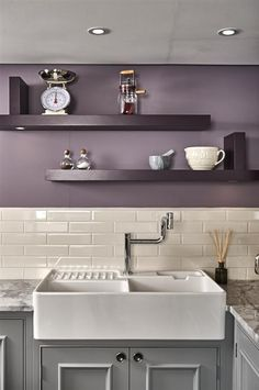 New Kitchen Remodel Grey Cabinets Farrow Ball Ideas Purple Kitchen Walls, Kitchen Cabinets Grey And White, Kitchen Wall Colors, Grey Cabinets, Grey Kitchens, Home Decor Kitchen, Kitchen Grey, Purple Walls, Kitchen Modern