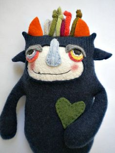 Cashmere Sweater Monster Stuffed Animal Repurposed Upcycled