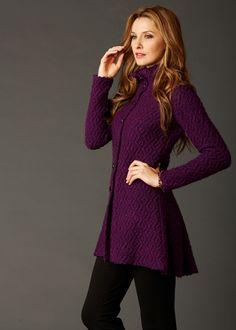 Sara Campbell Purple Knit Sweater Jacket