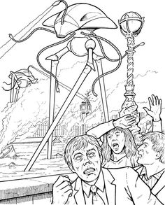War of the Worlds coloring page - Martians killing civilians