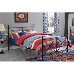 Fall asleep in style with the DHP Lubin Queen Bed . Crisscross design with circular medallion centers are flanked by round posts with ball finials. Metal Bed Frame Queen, Metal Beds, Black Queen Bed, Black Metal Bed, California King Bedding, King Size Mattress, Kids Bedroom Furniture, Beds For Sale, Furniture Deals