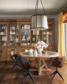 "4,406 Likes, 22 Comments - Veranda Magazine (@verandamag) on Instagram: ""The custom cabinetry lends an antique look. | Photo: @rogerdaviesphotography; Design: @martynbullard"". LOVE the fixture."