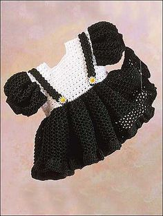 Free crochet dress pattern. This could be adapted into a cute Halloween costume by changing colors.