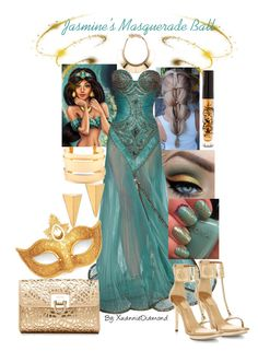 """Jasmine's Masquerade Ball"" by kaijucat ❤ liked on Polyvore featuring Disney, Lanvin, ELLA, Forever New, Masquerade, John & Pearl, Bowie, gold, jasmine and princess"