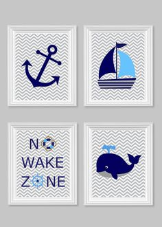 Nautical Nursery Prints, No Wake Zone, Sailboat, Whale, Anchor, Gray Navy Blue…