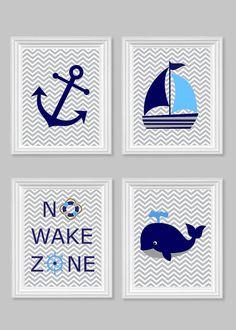 Nautical Nursery Prints No Wake Zone Sailboat Whale Anchor Gray Navy Blue Ocean Nursery Art Nautical Decor Baby Shower Gift 8 x 10,  11 x 14...