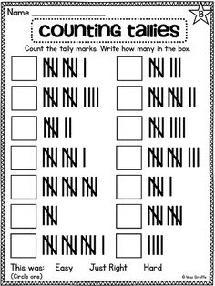 Tally mark counting worksheets and activities that are differentiated (star in…