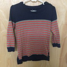 3/4 sleeve striped sweater Nice striped 3/4 sleeve sweater from Gap. Stripes in front and back, with buttons on the top on the shoulder. GAP Sweaters Crew & Scoop Necks
