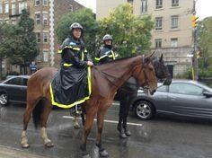 Police on horseback... In the rain... In the Village