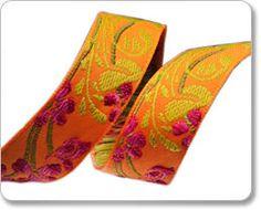 Fuchsia and Orange Flower Ribbon
