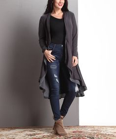 Love this Charcoal Open Drape Cardigan - Plus by Reborn Collection on #zulily! #zulilyfinds