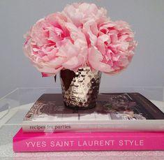Fine Silk Floral Arrangement Faux Pink Peonies in Mercury Vase by La Fleur