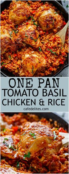 Crispy chicken bakes over a bed of tomato basil rice in this One Pan Tomato Basil Chicken & Rice. Dinner is ready in 45 minutes! All made in one pan | http://cafedelites.com