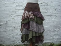 SALE Animal Print Skirt Dark Brown Chocolate Olive Green Ruffled Upcycled Skirt Woman's Clothing Tribal Woodland Forest