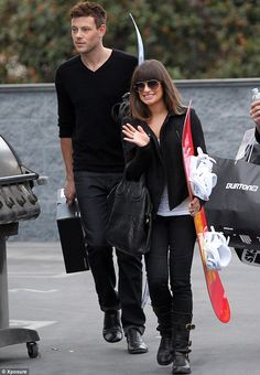 Ice, ice baby: Cory Monteith and Lea Michelle both bought new snowboards at a store in West Hollywood on Saturday