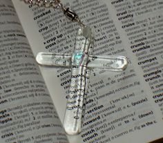 Cross crystal clear fused glass necklace by GeckoGlassDesign, $42.00