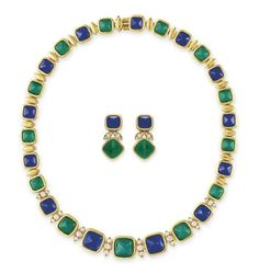 Lot 15 -  A SET OF DIAMOND AND MULTI-GEM JEWELRY, BY VAN CLEEF & ARPELS