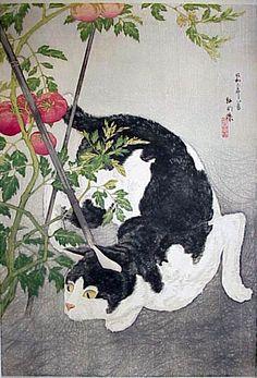 hanga gallery . . . torii gallery: Cat and Tomato Plant by Takahashi Shotei