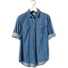BASIC DENIM SHIRT - BLOUSES AND SHIRTS - WOMAN - United Kingdom ($20) ❤ liked on Polyvore featuring tops, shirts, blouses, blue denim shirt, shirt tops, denim top, denim shirt and blue top