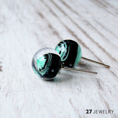 Emerald fusion – 27jewelry handmade lampwork glass post earrings