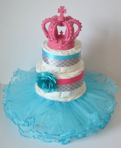Pink grey and teal diaper cake Princess Diaper by CrispCreations1, $60.00