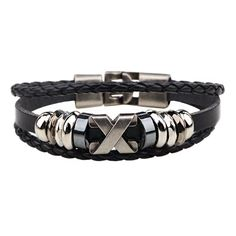 Linnor Punk Homme X Symbol Letter Bracelet Weave Braided Sign Snap Braclet Friendship Pulseira Masculina Jewelry