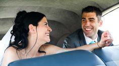 Photos de mairiage, couple dans voiture