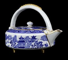 Antique Royal Worcester Pagoda Pattern Kettle Shaped Teapot
