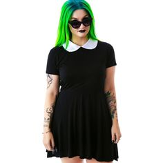 Disturbia Wednesday Dress ($46) ❤ liked on Polyvore featuring dresses, doll dress, skater dress, peter pan collar dress, disturbia and babydoll dress