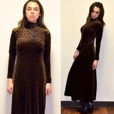 90s Grunge Leopard Velvet Dress by MerlotMami on Etsy #hipster #softgrunge #90sgrunge #grunge #vintage #fashion #dress #leopardprint #leopard #turtleneckdress #turtleneck #maxidress #velvet
