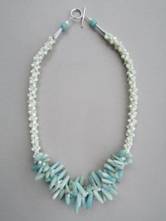 Amazonite Mother of Pearl and Chain Kumihimo Necklace