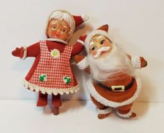 Vtg Xmas Decoration Mr. Mrs. Santa Claus Felt Blow Mold Figurine Figure Doll 5""