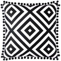Jennifer Paganelli St. Thomas Black Embroidered #Pillow #decorative #pom