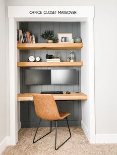 50 Unbelievably Easy Closet Office Ideas that Make Use Of the Littlest Space Tiny Home Office, Home Office Closet, Office Nook, Guest Room Office, Bedroom Office, Closet Desk, Closet Space, Hallway Office, Apartment Office