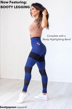 "BOOTY LEGGING - RICH NAVY WITH BLACK - Now Featuring Booty Legging Complete With a Booty Highlighting Band. Key Features: Extra high ""muffin top preventing"" seamless waistband  Power mesh panels Flat lock stitching ""Booty highlighting band"" Quick dry medium weight fabric  87% Nylon/ 13% Spandex These high quality leggings are a blue and a great fit! Would make a great gift! You will love this style! #highqualityleggings #leggings"
