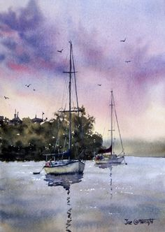 Shoal Bay Sunset, Port Stephens, NSW. Watercolor painting by Joe Cartwright