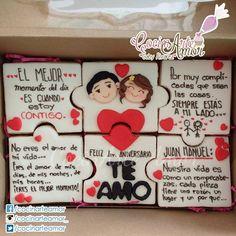 Galletas Rompecabezas Para celebrar el primer aniversario de un gran amor! Felicidades