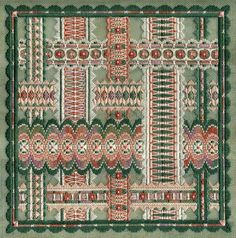 """Floral Ribbons 10"""" x 10"""" on 18 ct santa fe sage canvas Pattern: $16.00 (includes beads) - by Laura J Perin Designs"""