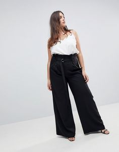 2bb2fc7cddc Missguided Plus Paper Bag Waist Belted Pants - Plus Size Fashion