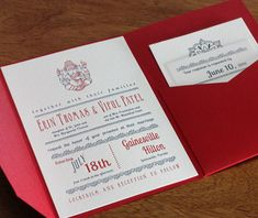 Modern Indian Wedding Invitation Suite With Ganesh Elepahant In Two Color  Letterpress Mounted In Pocket Folder