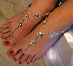 Barefoot Sandals Silver Plated Happi Feet Handmade by HappiFeet, $65.00