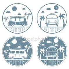 Descargar - Bus retro con tabla de surf grunge vector conjunto de etiquetas — Ilustración de stock #104585088